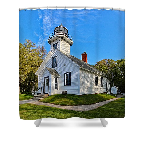 Mission Point Lighthouse 1 Shower Curtain