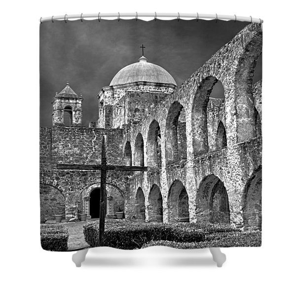 Shower Curtain featuring the photograph Mission San Jose Arches Bw by Jemmy Archer