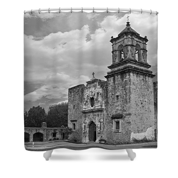 Shower Curtain featuring the photograph Mission San Jose Bw by Jemmy Archer