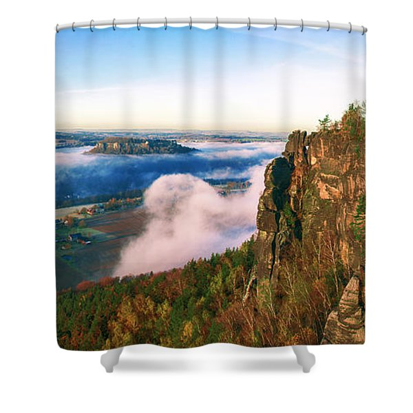 Mist Flow Around The Fortress Koenigstein Shower Curtain