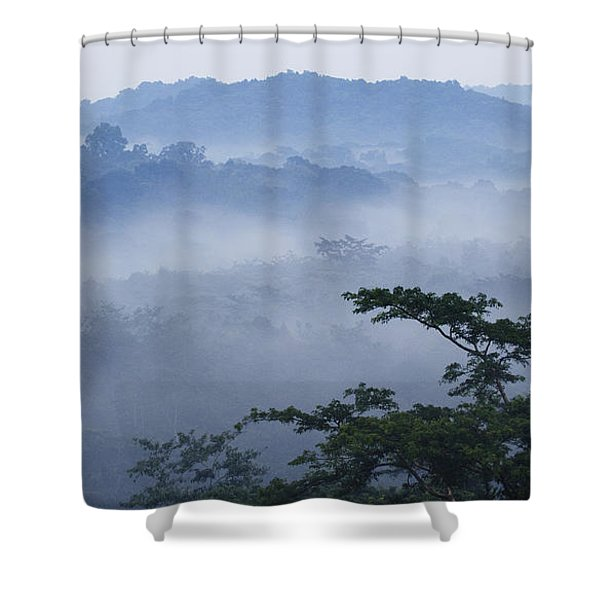 Mist Over Tropical Rainforest Kibale Np Shower Curtain