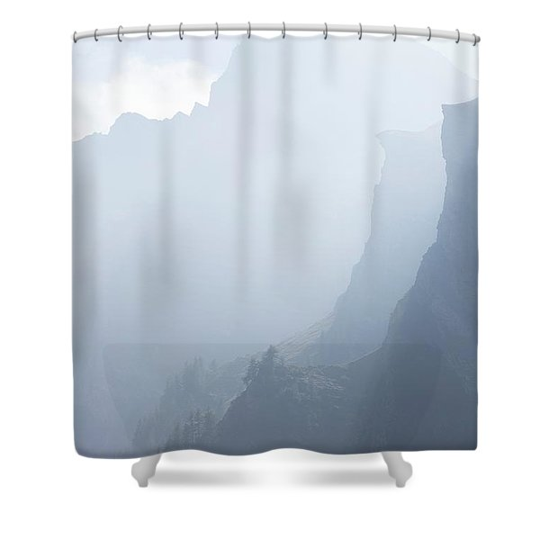 Mist Rising From Layers Of Steep Shower Curtain
