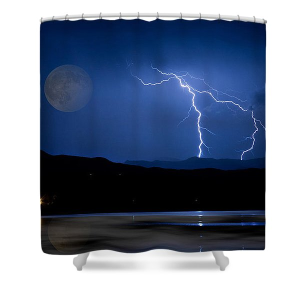 Misty Lake Full Moon Lightning Storm Fine Art Photo Shower Curtain