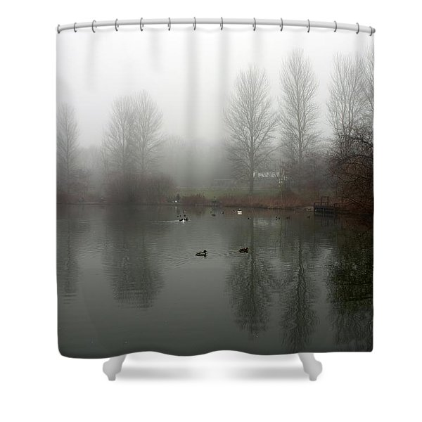 Misty Lake Reflections Shower Curtain