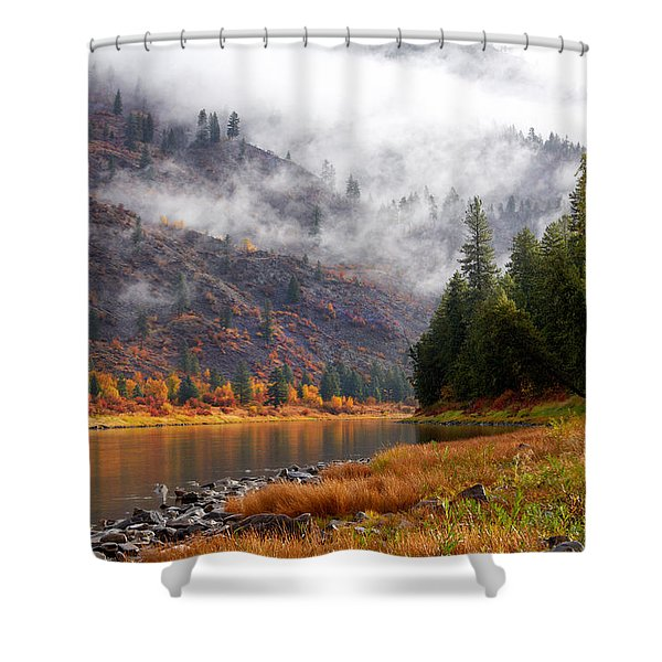 Misty Montana Morning Shower Curtain
