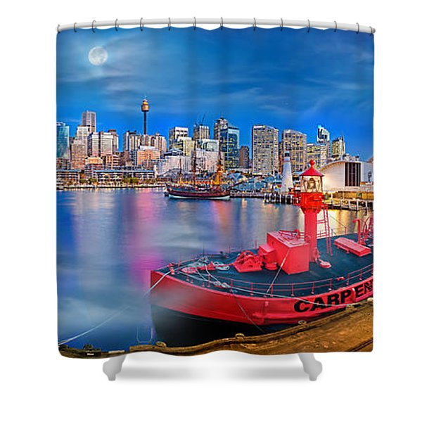 Misty Morning Harbour Shower Curtain