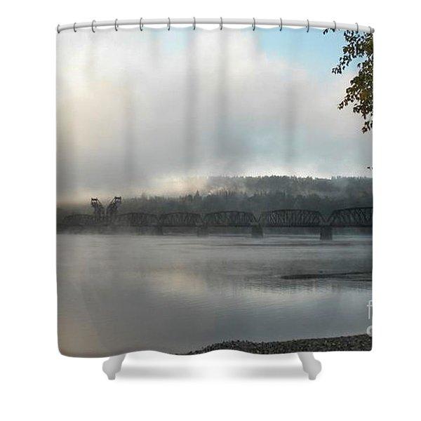 Misty Railway Bridge Shower Curtain