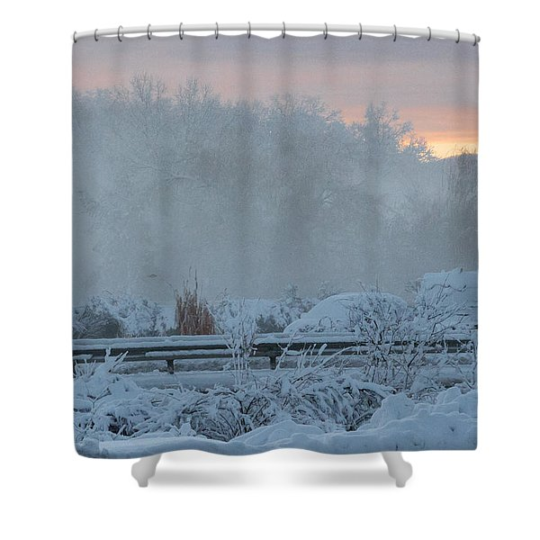 Misty Snow Morning Shower Curtain
