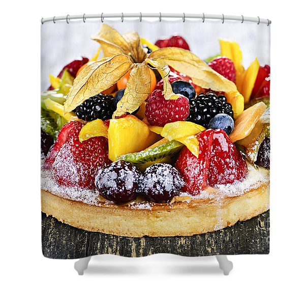 Mixed Tropical Fruit Tart Shower Curtain