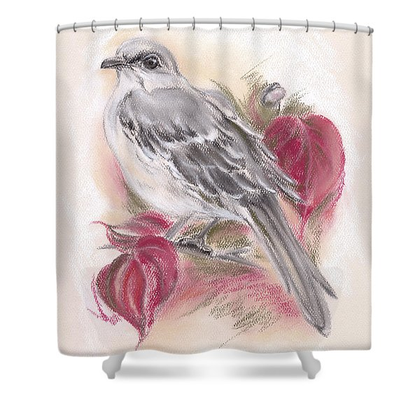 Mockingbird In Autumn Dogwood Shower Curtain