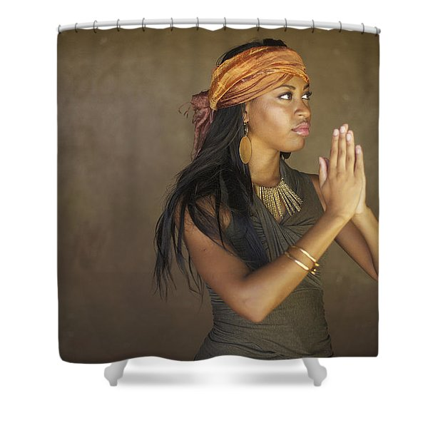 Model In Prayer Shower Curtain