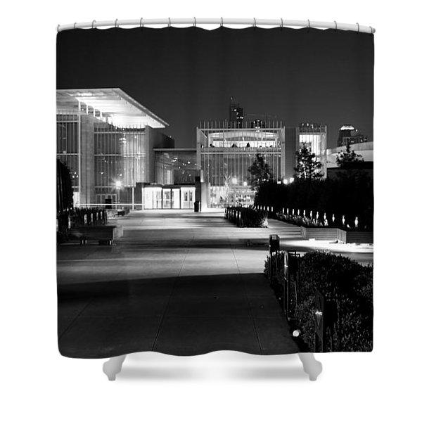 Modern Architecture Night Black White Shower Curtain