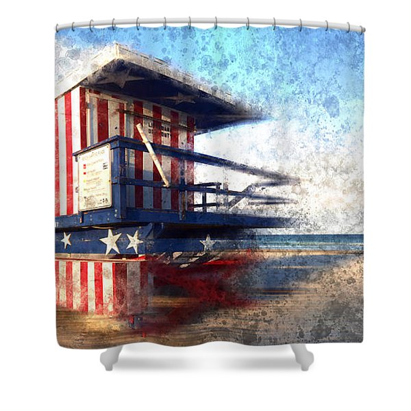 Modern-art Miami Beach Watchtower Shower Curtain