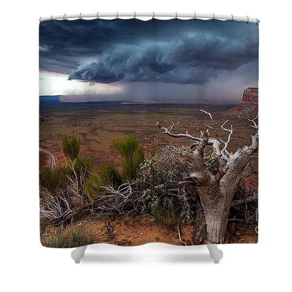 Moki Dugway Thunderstorm - Southern Utah Shower Curtain