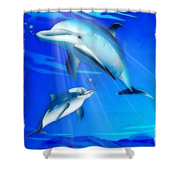Mom And Baby Dolphin Shower Curtain