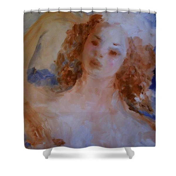 Shower Curtain featuring the painting Mom Near Jupiter by Laurie Lundquist