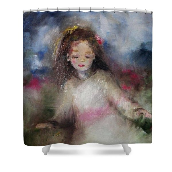 Shower Curtain featuring the painting Mommy's Little Girl by Laurie Lundquist