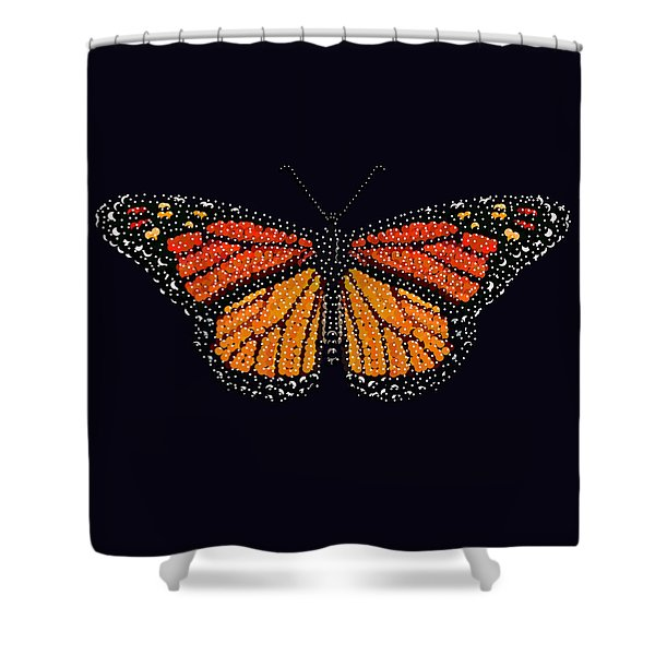 Monarch Butterfly Bedazzled Shower Curtain