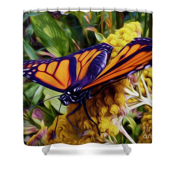 Monarch On Yarrow Shower Curtain
