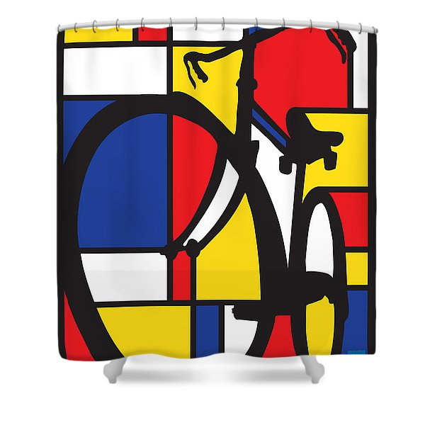 Mondrian Bike Shower Curtain