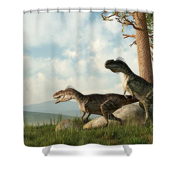 Monolophosaurs On The Hunt Shower Curtain