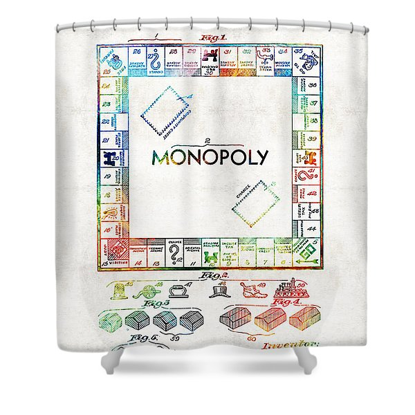 Monopoly Game Board Vintage Patent Art - Sharon Cummings Shower Curtain