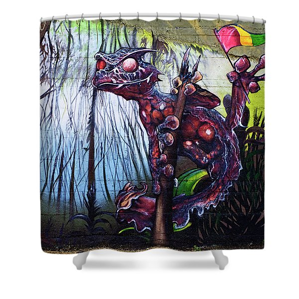 Monster With Flag Shower Curtain