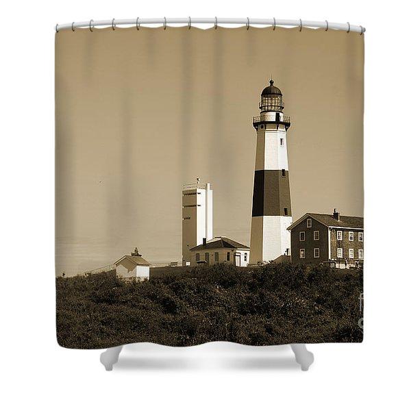Montauk Point Light In Sepia Shower Curtain