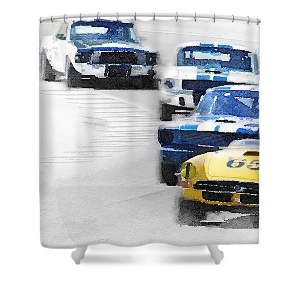Monterey Racing Watercolor Shower Curtain