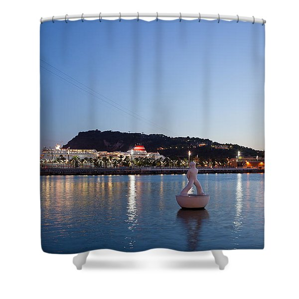 Montjuic And Torre Jaume I At Dusk In Barcelona Shower Curtain