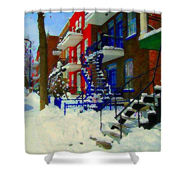 Montreal Art Streets Of Verdun Winter Scenes Winding Staircases Snowscenes Carole Spandau Shower Curtain