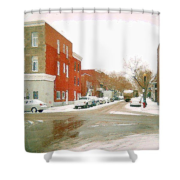 Montreal Art Winter Street Scene Painting The Point Psc Rowhouses In January Snow Cspandau Shower Curtain