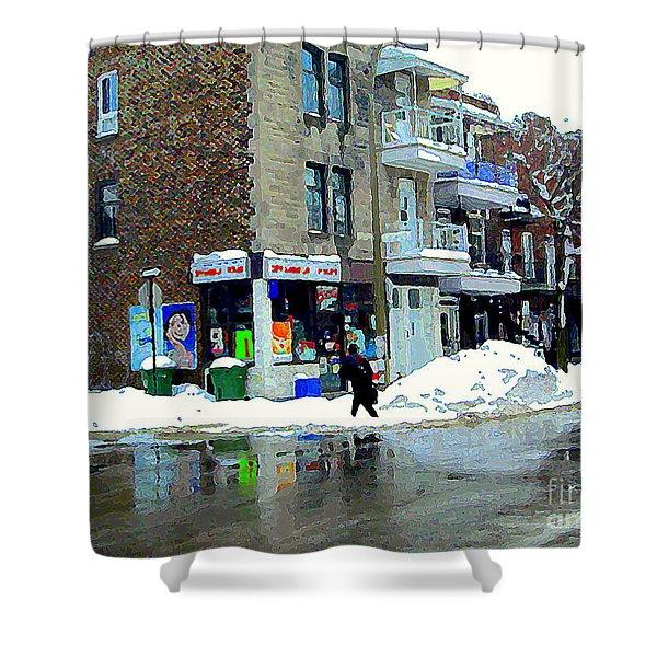 Montreal Street Scene A Winter Walk In The City The Corner Depanneur Carole Spandau Shower Curtain