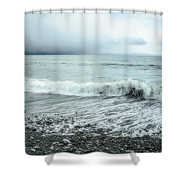Moody Shoreline French Beach Shower Curtain