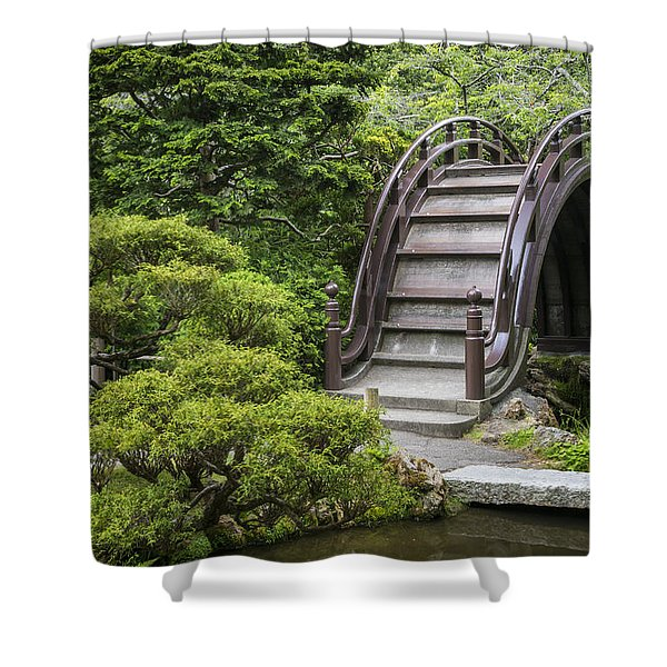 Moon Bridge - Japanese Tea Garden Shower Curtain