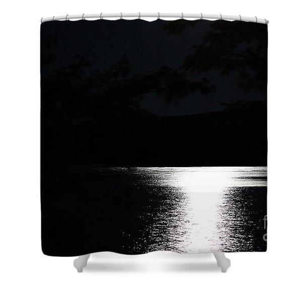 Moon On Waterton Lake Shower Curtain