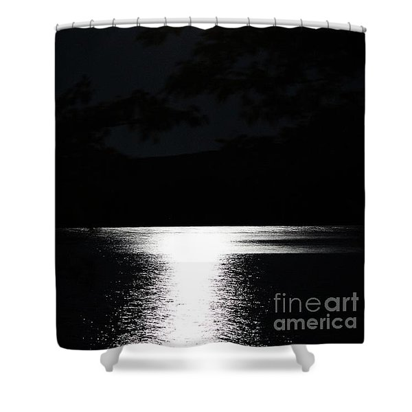Moon On Waterton Lake Shower Curtain