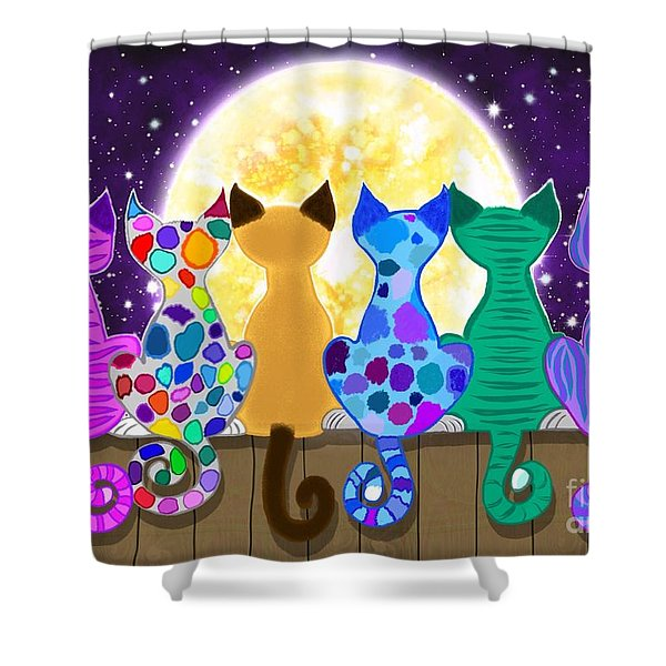 Moon Shadow Meow Shower Curtain
