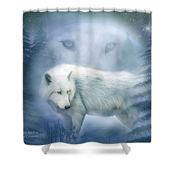 Moon Spirit 2 - White Wolf - Blue Shower Curtain