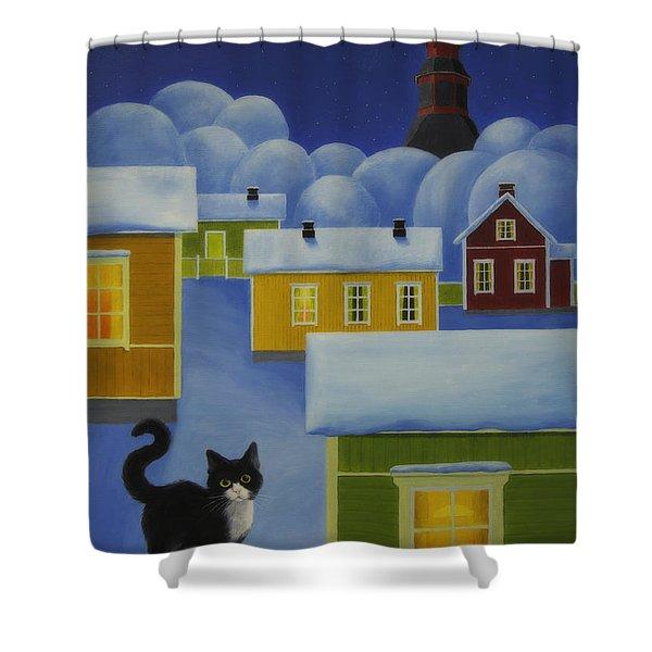 Moonlight Cat Shower Curtain