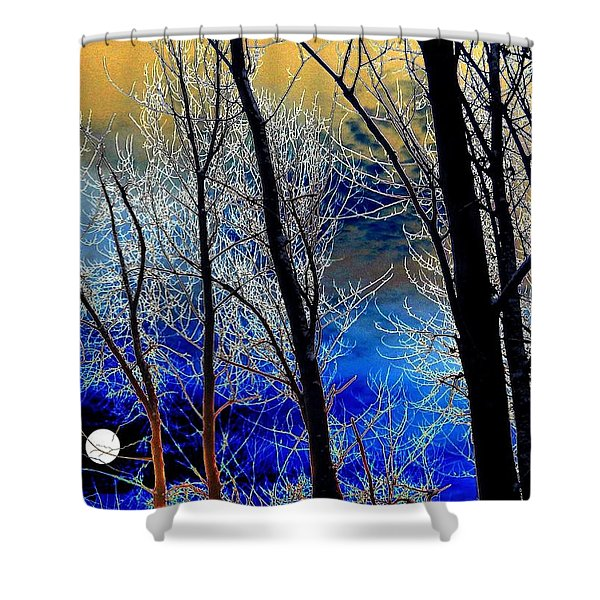 Moonlit Frosty Limbs Shower Curtain