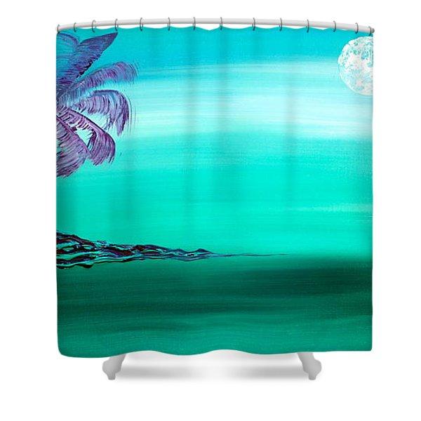 Moonlit Palm Shower Curtain
