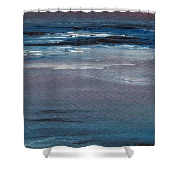 Moonlit Waves At Dusk Shower Curtain