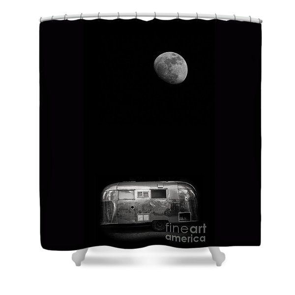 Moonrise Over Airstream Shower Curtain