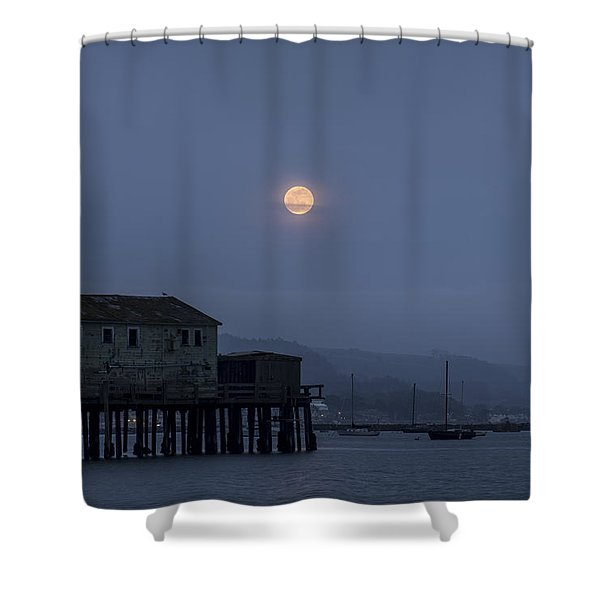 Moonrise Over The Harbor Shower Curtain