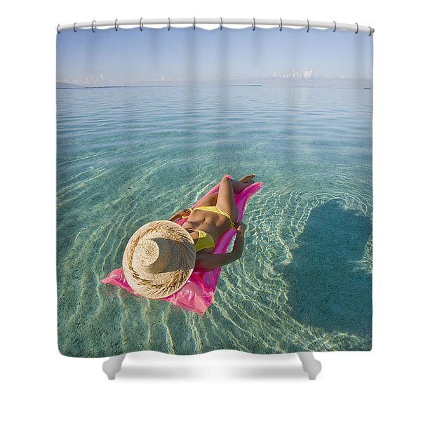 Moorea Woman Floating Shower Curtain