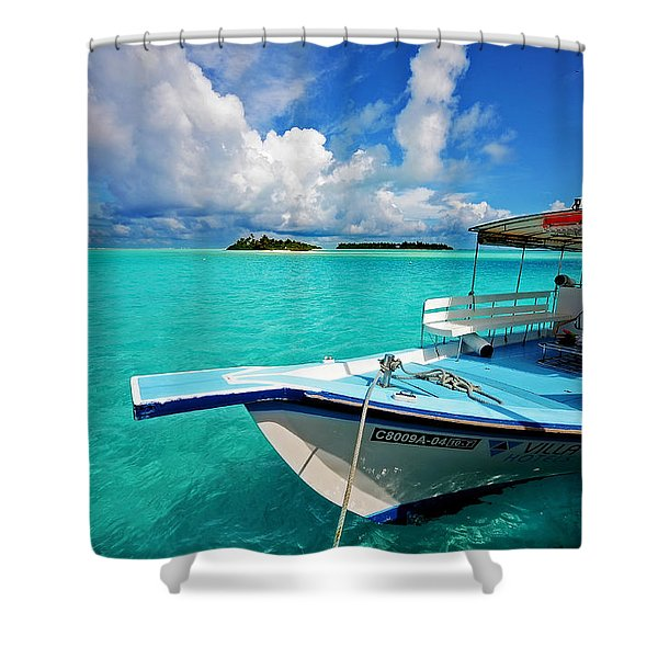 Moored Dhoni At Sun Island. Maldives Shower Curtain