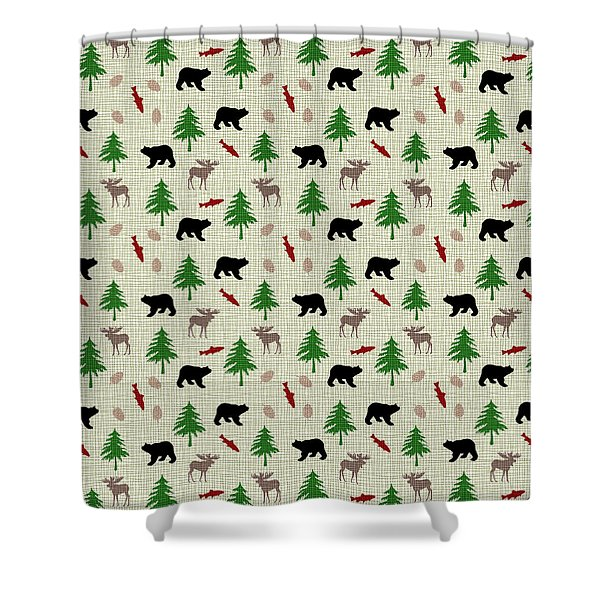 Moose And Bear Pattern Shower Curtain