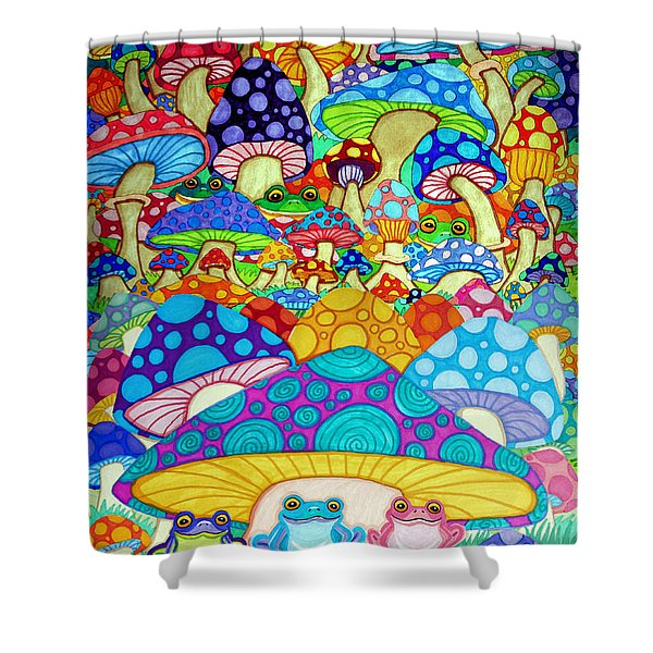 More Frogs Toads And Magic Mushrooms Shower Curtain