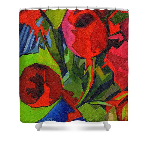 More Red Tulips  Shower Curtain